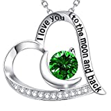 GinoMay May Birthstone Green Emerald Necklace Women Birthday Gifts Mum Wife I Love You to the Moon and Back Jewellery Sterling Silver