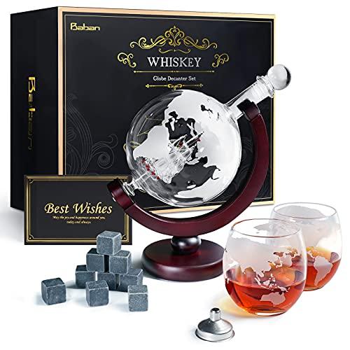Whiskeyglas, kugelförmige Whisky-Karaffe Globus Segelschiff 930 ml mit Eisstein, 2 Whiskygläser,...