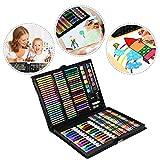 Aufun - Juego de dibujo para niños, 168 unidades, lápices de colores, ceras, acuarelas, pastel, rotuladores, goma de borrar, libro para colorear en práctico maletín