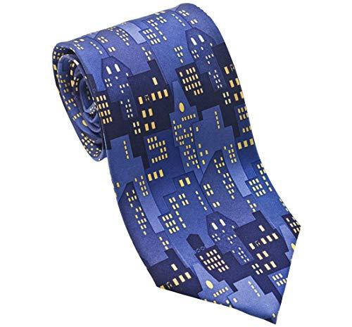 Josh Bach Men's City Lights Silk Necktie Blue Made in USA