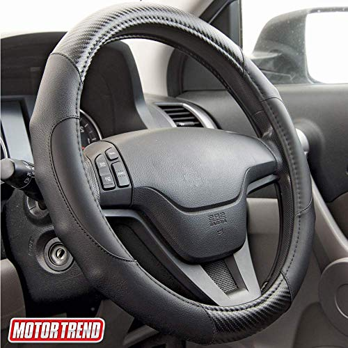 Motor Trend GripDrive Carbon Fiber Steering Wheel Cover – Universal Fit with Microfiber Leather for Steering Wheel Sizes 14.5 15 15.5 inches (Black)