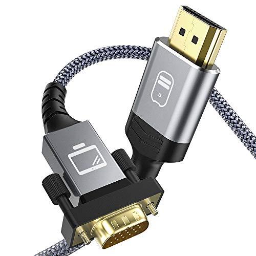 Cavo HDMI a VGA 1.8m, Snowkids Cavo HDMI VGA Maschio [1080P Full HD, Placcato in Oro, Nylon Cord] Video Attivo Convertitore Supporto Notebook PC Lettore DVD Computer Portatile TV Proiettore Monitor