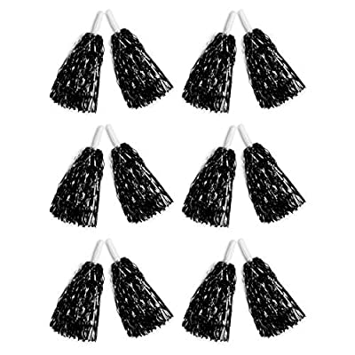CHEERLEADER POM POMS: Includes 6 pairs of black pom poms to ensure everyone can join in on the team spirit at an upcoming dance or cheerleading competition MULTI-PURPOSE: Not just for cheerleading, these black pompoms are also ideal for sport games s...