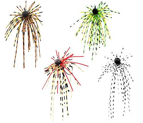 FISHN Dirty Hairy Jig - Frange, Frange orecchiabili - parabraccio, Maschere di Gomma, Esche morbide - Amo affilato, Peso: 2,5 g / 5 g - Set luccio, Pesce persico e luccioperca (Set 2,5g (4 Pezzi))