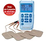 Premier Plus EM6300P Electroestimulador Digital Masaje EMS TENS, Pantalla LCD, 2 Canales, 16 Electrodos Autoadhesivos Totalmente Recargable Con 30 Programas de Preajuste