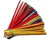 Lot de 100 cure-pipes GERMANUS en fil chenille coloré, rouge, jaune, bleu,...