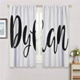 Bedroom Decor Blackout Shades Dylan Monochrome Arrangement of Letters Stylized Font Design Hand Drawn Typography for Bedroom Kindergarten Living Room W108 x L84 Inch Black and White