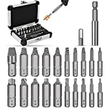 Jellas 22PCS Damaged Screw Extractor, Stripped Screw Remover with 64-65 HRC Hardness, Easy Out Bolt Extractor Set with Magnetic Extension Bit Holder Burnished Separately for Screw or Bolts 2-12mm