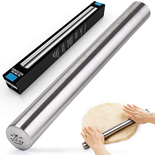 French professional rolling pin Zulay for baking, high quality stainless steel, lightweight, easy to roll | Metal brooch and rolling pin for better pie dough, cookie, dough, pizza dough