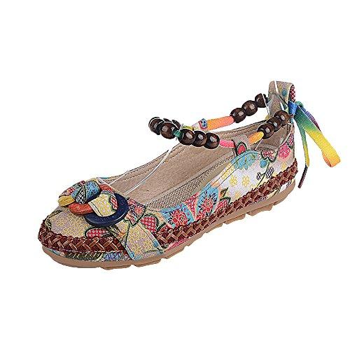 Zapatos Casuales de Verano para Mujer Estilo Nacional Zapatos de Encaje Bordados Cuerda de cáñamo Fondo Plano Sandalias de Vestir Primavera Verano Romanas Alpargatas Plataforma riou