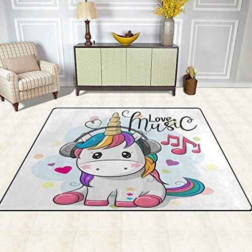 ISAOA Moderno e Morbido Tappeto per Bambini, Unicorno con Area Tappeto Cuffie per camere da Letto...