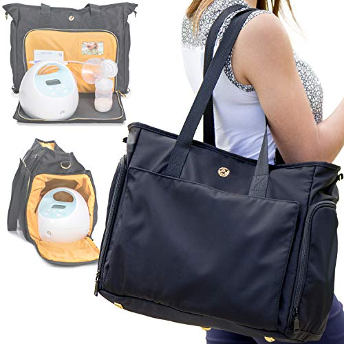 Zohzo Lauren Breast Pump Bag - Portable Tote Bag Great for Travel or Storage – Includes Padded Laptop Sleeve - Fits Most Major Pumps Including Medela and Spectra Breastpump (Black)