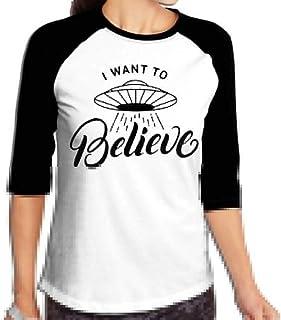 FHddg Women's I Want to Believe 3/4 Sleeve Raglan Baseball T-Shirts