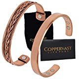 Copper Bracelets for Arthritis - for Men and Women 100% Copper with 6 Powerful Magnets - Effective and Natural Relief for Joint Pain and Arthritis Set of 2 (Plain and Braided Inlay)