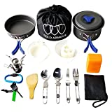 Gold Armour 17 Pieces Camping Cookware Mess Kit Backpacking Gear & Hiking Outdoors Bug Out Bag Cooking Equipment Cookset | Lightweight, Compact, Durable Pot Pan Bowls (Blue)