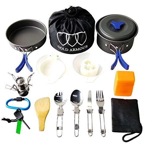 Gold Armour 17 Pieces Camping Cookware Mess Kit Backpacking...