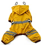 MaruPet Outdoor Polyester Puppy Waterproof Glisten Yellow Four-Leg Raincoat Doggie Hooded Rain Gear Jumpsuit for Small Extral Small Dog Teddy, Pug, Chihuahua, Shih Tzu, Yorkshire Terriers S