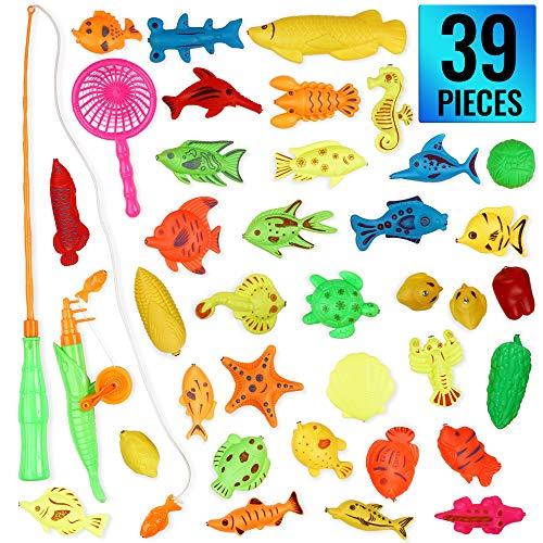 THE TWIDDLERS 39 Pezzi Giocattolo per Pesca Magnetica con Canna da Pesca