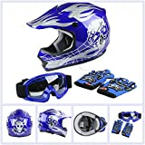 TCT-MT DOT Blue Skull Helmet w/Goggles Gloves Youth Kids Dirt Bike Motocross ATV Helmet Gloves Goggles S~XL (Large)