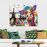 Arte Moderno de Pared de lonaVrolijk Schilderij Wall Art Holland Cow Canvas ng Animal Picture Prints Decoración para el hogar