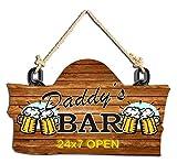 Studio Shubham Daddy's Bar Wooden Wall Hanging/Door Hanging (30 cm x 18 cm x 3 cm, Brown)