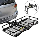 Leader Accessories Hitch Cargo Carrier With Stand Foldable Cargo Basket 60' L x 24' W x 6' H with 500 LB Capacity Fits 2' Receiver