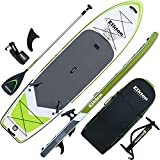 Elkton Outdoors Grebe Inflatable Fishing Paddle Board - 12 ft Fishing SUP Package, Fishing Rod Holders, Paddle, Leash, Carry Bag, Pump, Accessory Mounts and Non-Slip EVA Deck