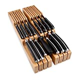 Homemaid Living In-Drawer Bamboo Knife Block Holds 14 Knives Plus a Slot for your Knife Sharpener, Premium Knife Drawer Organizer, Perfect Knife Organizer Drawer Insert or Drawer Knife Holder