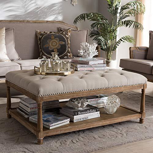 Baxton Studio Carlotta French Country Weathered Oak Beige Linen Rectangular Coffee Table Ottoman French Country/Beige/Weathered Oak/Fabric Cotton 50%/