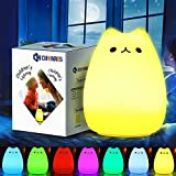 CHwares Portable LED Enfants Veilleuse Enfants Multicolor Lampe de Chat en...