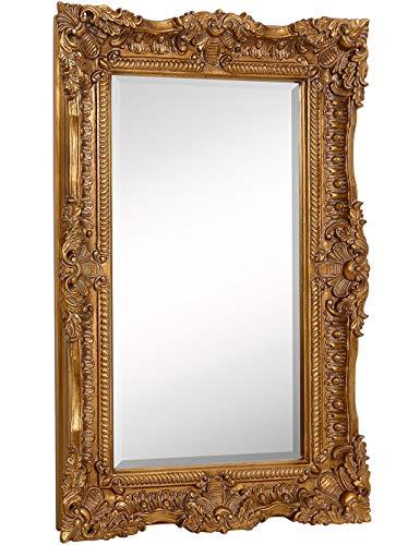 Hamilton Hills Large Ornate Gold Baroque Frame Mirror | Aged Luxury | Elegant Rectangle Wall Piece | Vanity, Bedroom, or Bathroom | Hangs Horizontal or Vertical (24' x 36')