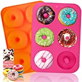 HEHALI Donut Pan, 2pcs Non-Stick Silicone Donut Mold for 6 Donuts 3.2 Inch, Bagel Pan, Tray Measures 11.5x8 Inches