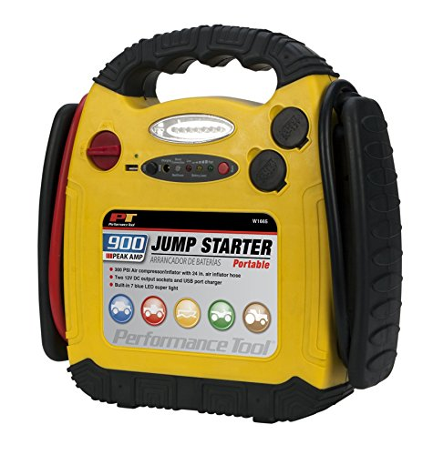 Performance Tool W1665 900 Amp Jump Starter, Inflator and Portable Power Unit