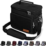 Insulated Lunch Bag for Women/Men - Reusable Lunch Box for Office Work School Picnic Beach - Leakproof Cooler Tote Bag Freezable Lunch Bag with Adjustable Shoulder Strap for Kids/Adult - Black