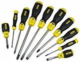 STANLEY 2-65-005 - Juego de 10 destornilladores Cushion Grip, incluye 5 destornilladores de...