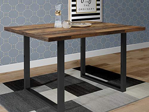 möbelando Esszimmertisch Küchentisch Esstisch Speisetisch Holztisch Tisch Talbert I Old Wood Vintage/Schwarz