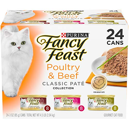 Purina Fancy Feast Grain Free Pate Wet Cat Food Variety Pack, Poultry & Beef Collection