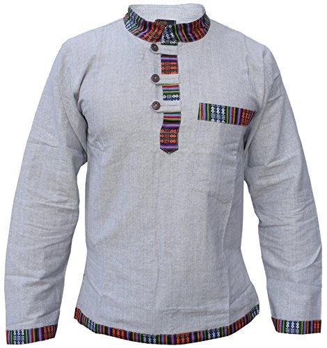 Gheri Bolsillo para camisa de abuelo de cáñamo, algodón étnico, para hombre
