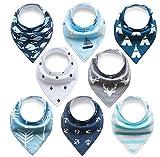 Yafane - Lot de 8 bavoirs pour bébé en coton avec motif, style bandana Boy A