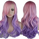 Long Wavy Ombre Cosplay Full Hair Wigs Women Anime Costume Party Dress Heat Reisistant Synthetic Curly Wig With Bangs Pastel Pink Purple 24'/60cm