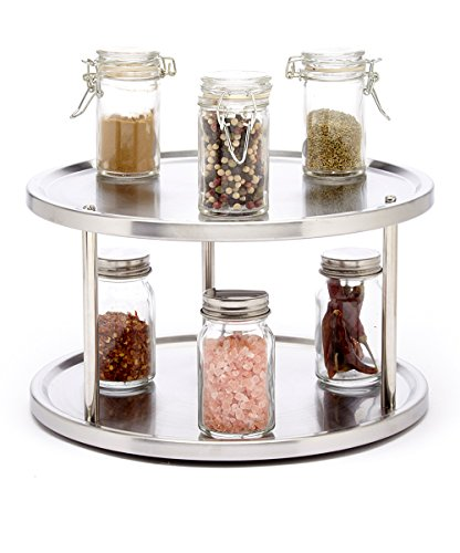 Sagler 2 Tier lazy susan turntable 360-degree lazy susan organizer use for a spice organizer or kitchen cabinet...