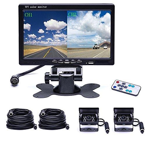 sistema Doppio telecamera posteriore Camecho Impermeabile visione notturna fotocamera di backup anteriore + 7 '' 4-Split Monitor + 33ft cavo 12V 24V per auto rimorchio camper bus