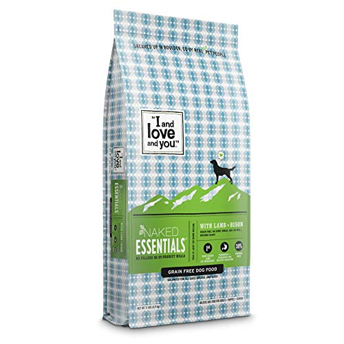 """""""I and love and you"""" Naked Essentials Dry Dog Food - Natural Grain Free Kibble, Lamb + Bison, 11-Pound Bag"""
