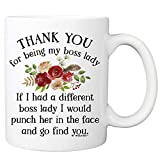 Thank You For Being My Boss Lady Coffee Mug - 11oz Cup for Managers from Employee, Coworker - Christmas, Birthday Cup for Boss Ladies