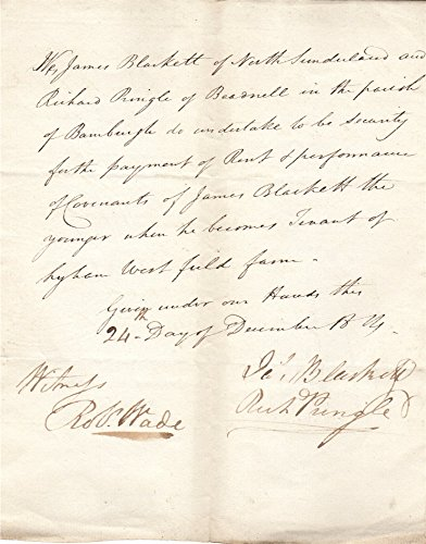 1814 Letter. Re- security for Hyham West Field Farm. James Blackett, Richard Pringle. Beadnell Northumberland.