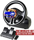 Serafim R1 Innovative Racing Wheel - Gaming Steering Wheel with Responsive Pedal - The World's First Mobile Gaming Wheel Compatible with PC, iOS, Android - PC Gaming Wheel - Not Support Xbox ONE PS4