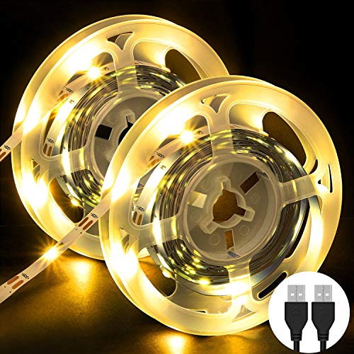 Striscia LED, OMERIL 6M (2x3m) Strisce LED con 3000K Luce Gialla Calda, Plug 'n' Play, USB...