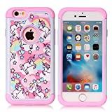 iPhone 6S Case,iPhone 6 Case - Rainbow Unicorn Patchwork Pattern Shock-Absorption Hard PC and Inner Silicone Hybrid Dual Layer Armor Defender Protective Case Cover for Apple iPhone 6 iPhone 6S