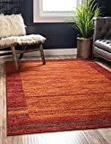Unique Loom Autumn Collection Border Casual Rustic Warm Toned Area Rug, 5 x 8 Feet, Terracotta/Burgundy