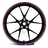 Felgenrandaufkleber GP-Design 16 Teilig Komplett-Set -Finest Folia passend für 17 Zoll & 16' 18' 19' Felgen Motorrad Auto Fahrrad (Neon Pink)